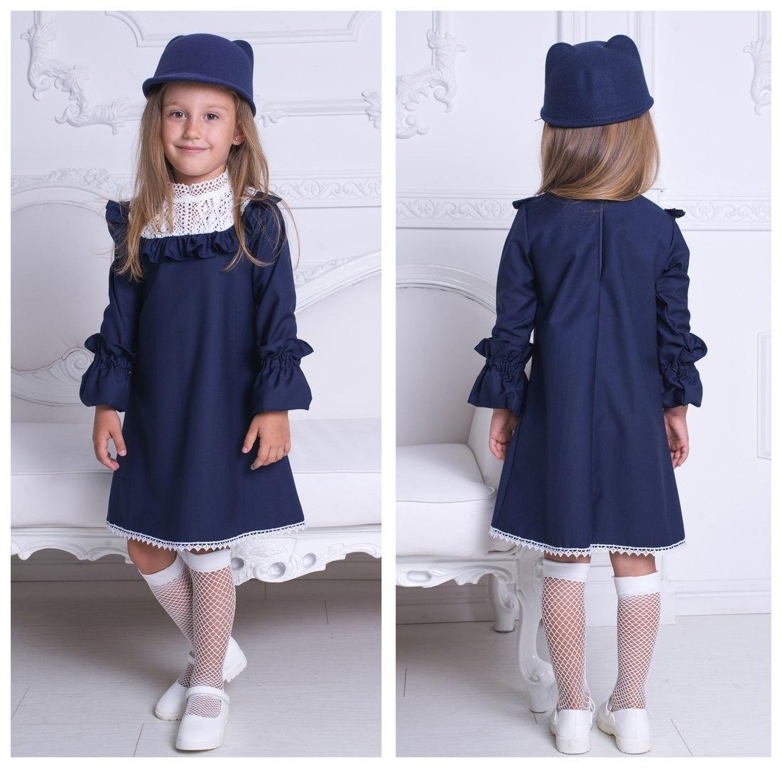 Стильное платья в английском стиле с белоснежным кружевом из натурального льна.