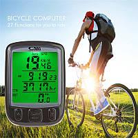 Велосипедный вело компьютер SunDing SD-563B, подсветка, температура, одометр, спидометр, 24 функции