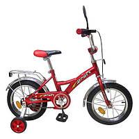 Велосипед детский 12 дюймов P 1231 красный, звонок,зеркало,приставные колеса DVN