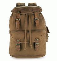 Вместительный рюкзак с кожаными вставками S.J.D. 9020B  Хаки