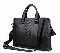 Деловая кожаная сумка для ноутбука 14.1 S.J.D. 7295A  Черный