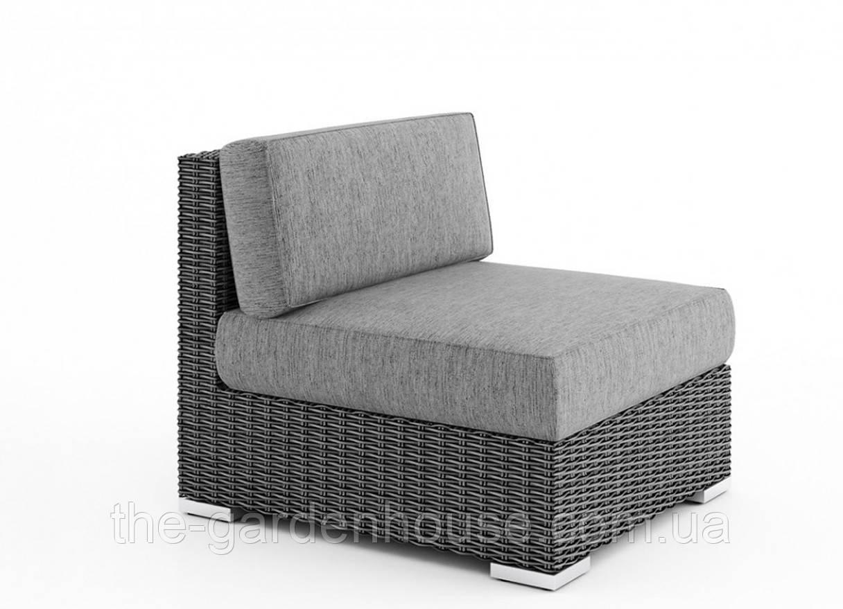 Центральный диванный модуль Milano Royal из искусственного ротанга серый