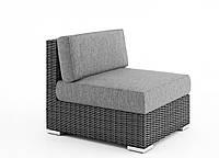 Центральный диванный модуль Milano Royal из искусственного ротанга серый, фото 1