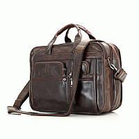 Универсальная мужская кожаная сумка для ноутбука S.J.D. 7093C Коричневый