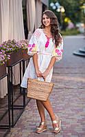 Белое вышитое платье в этно стиле, фото 1