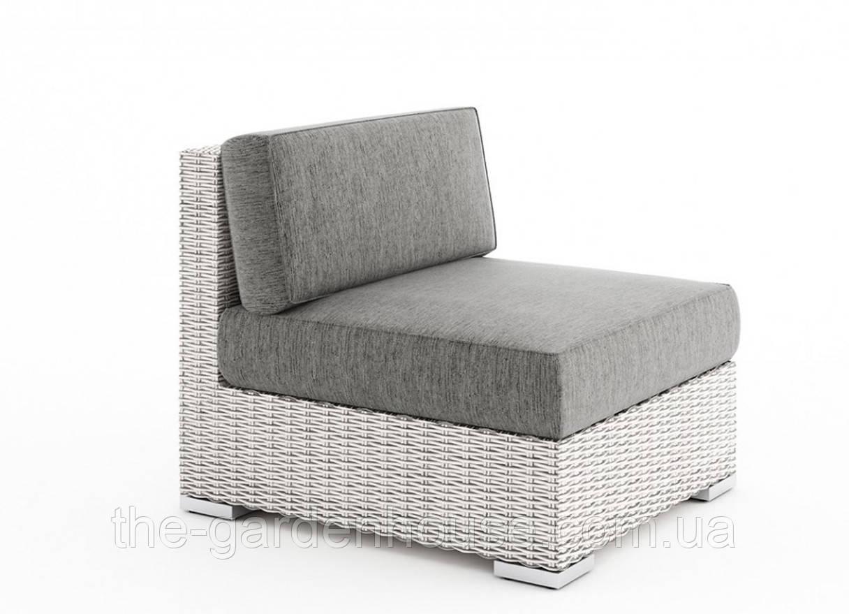 Центральный диванный модуль Milano Royal из искусственного ротанга белый