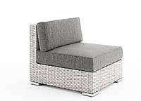 Центральный диванный модуль Milano Royal из искусственного ротанга белый, фото 1