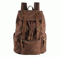 Рюкзак тканевый с кожаными вставками S.J.D. 9003B  Коричневый