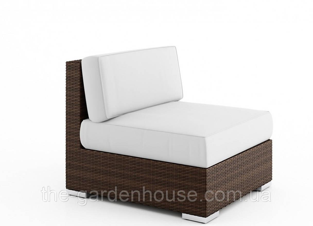 Центральный диванный модуль Milano Modern из искусственного ротанга коричневый