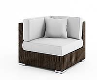 Угловой диванный модуль Milano Royal из искусственного ротанга коричневый, фото 1