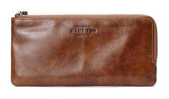 Кожаный клатч тонкий и вместительный Hautton SZB114C Коричневый