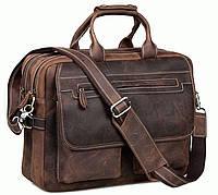 Мужская кожаная сумка Tiding BAG t29523 Коричневый
