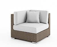Угловой диванный модуль Milano Royal из искусственного ротанга бежевый