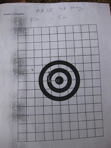мишень после отстрела ME-38 4R Magnum