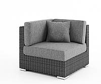 Угловой диванный модуль Milano Royal из искусственного ротанга серый