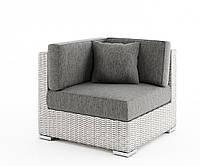 Угловой диванный модуль Milano Royal из искусственного ротанга белый, фото 1