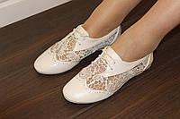Т775 - Туфли женские белые кружево