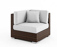 Угловой диванный модуль Milano Modern из искусственного ротанга коричневый