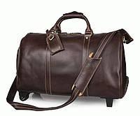 Дорожная кожаная сумка с колесиками S.J.D. 7077LC Коричневый