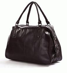 Женская дорожная кожаная сумка S.J.D. 7071C Коричневый