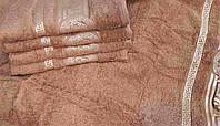 Махровое полотенце для лица 50х80 100% хлопок Узбекистан Версаче коричневое