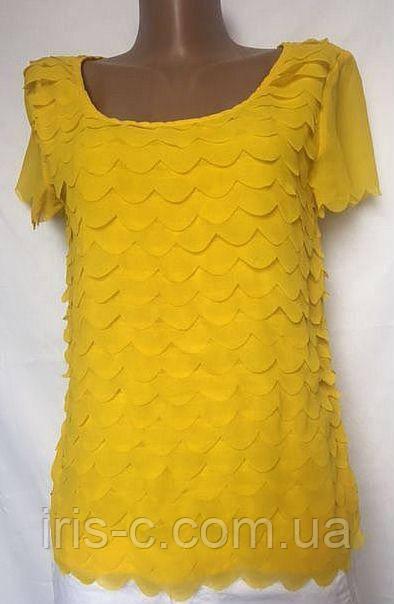 Женская блуза из яркого желтого шифона с оригинальным многослойным оформлением размер 36/38