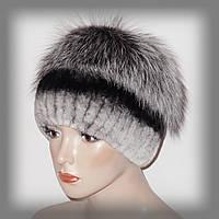 Меховая шапка из комбинированного меха Rex Rabbit и чернобурки (серая)