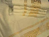 Махровое полотенце для лица 50х80 100% хлопок Узбекистан Версаче кремовое