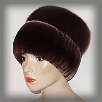 Меховая шапка из комбинированного меха Rex Rabbit и песца (коричневая)