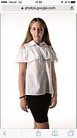 Коттоновая блузка для девочки, 134 - 164. Детская, подростковая школьная рубашка, коттон, короткий рукав