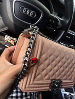 Сумка мини женская Chanel Люкс цепочка Пудра