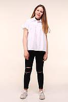 Свободная коттоновая блузка для девочки, 134 - 164. Детская, подростковая школьная блуза, короткий рукав