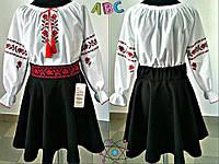 Белая рубашка - вышиванка в школу для девочки
