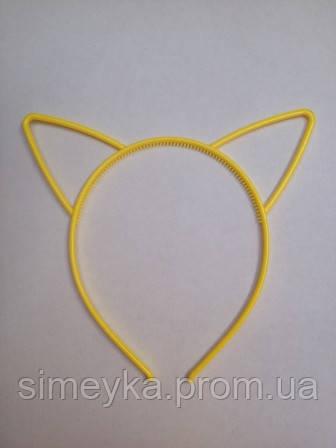 Ободок для волос детский с ушками, ширина 6 мм. Жёлтый