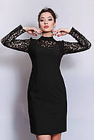 Платье Дольче ажурное черное платье с кружевными рукавами