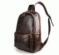 Кожаный вместительный женский рюкзак S.J.D. 7273Q Коричневый