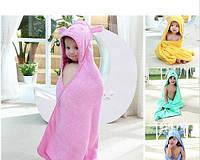 Махровое полотенце для купания с капюшоном деткое Салатовое Мишка