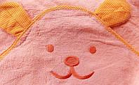 Детское махровое полотенце с капюшоном оранжевое Мишка