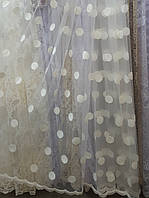 """Гардинное полотно """"Снежок"""" на прозрачном полотне, крем"""