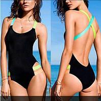 Классический черный слитый купальник с яркими шлейками. Хорошее качество. Доступная цена. Дешево. Код: КГ1704