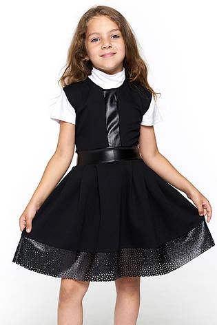 Черный школьный сарафан для девочки 065, фото 2