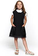 Детский черный школьный сарафан 073