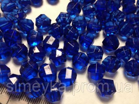 Уценка!!! Бусина акриловая прозрачная гранёная 10 мм, упаковка 24 шт. Синяя (очень красивый, глубокий цвет!)