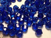 Бусина акриловая прозрачная гранёная 10 мм, упаковка 25 шт. Синяя (очень красивый, глубокий цвет!), фото 1