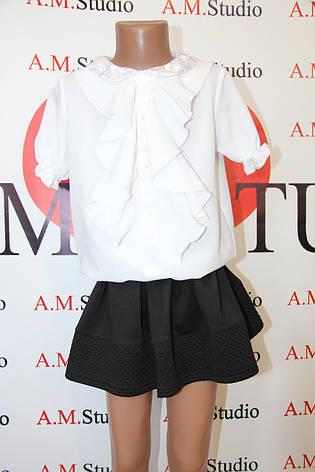 Белая блузка для девочки в школу 011, фото 2
