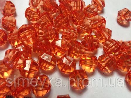 Уценка!!! Бусина акриловая прозрачная гранёная 10 мм, упаковка 20 шт. Оранжевая. Ост. 1 уп