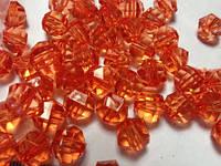 Бусина акриловая прозрачная гранёная 10 мм, упаковка 25 шт. Оранжевая