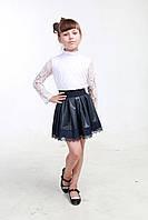 Детская юбка из экокожи для девочки 01 синяя