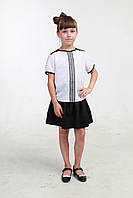 Белая детская блузка короткий рукав 013