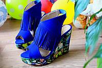 """Босоножки """"Бабочки"""" Синие, цветные."""